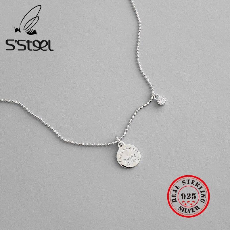 S'STEEL Disk Pendant 925 Sterling Silver Necklace For Women Zircon Boho Bead Chain Kolye Collares De Moda 2019 Bijoux Femme