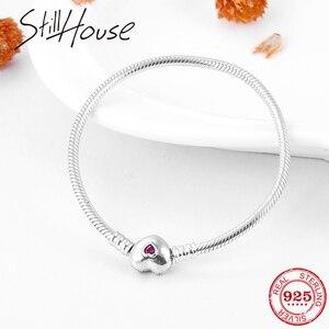 Image 1 - Gerçek 925 ayar gümüş yılan kemik zinciri kalp şekli pembe CZ büyüleyici bilezik moda kadınlar takı sevgililer günü hediyesi 2019