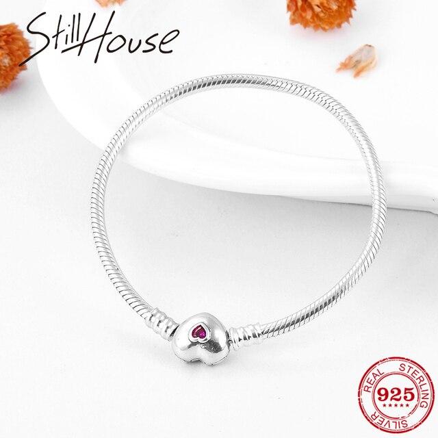 Gerçek 925 ayar gümüş yılan kemik zinciri kalp şekli pembe CZ büyüleyici bilezik moda kadınlar takı sevgililer günü hediyesi 2019