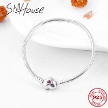 Prawdziwe 925 Sterling srebrny łańcuszek żmijka kości łańcuszek z sercem kształt różowy CZ urocze bransoletki moda kobiety biżuteria prezent na walentynki 2019