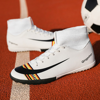 Football Turf Shoes Men Women Soccer Boots with Sock Breathable Soccer Shoes Tf Yellow White Sock Soccer Boots with Ankle