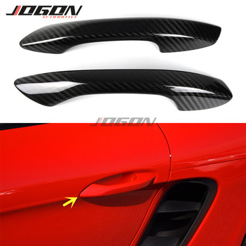 2pcs Real Carbon Fiber Car Door Handle Cover Trim For Porsche 718 Boxster Cayman 2016 2017 2018 2019 image