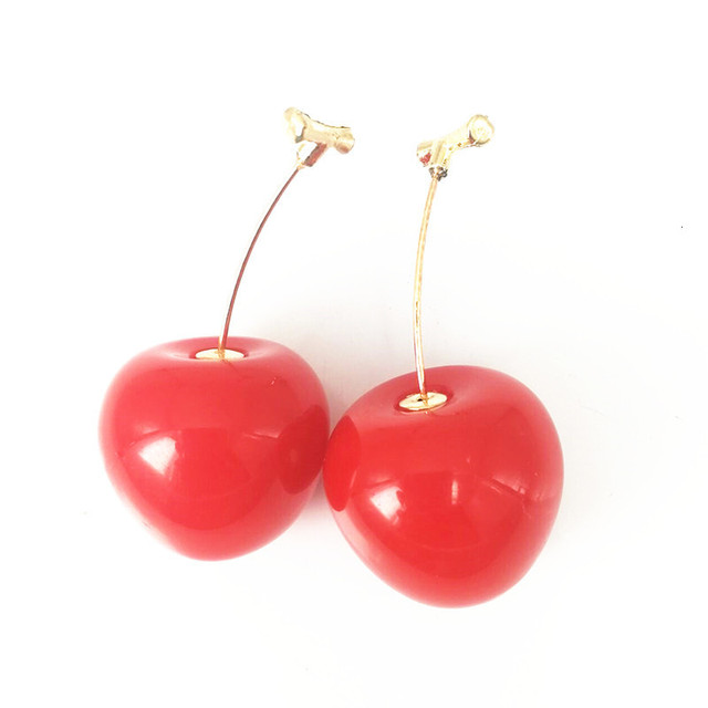 Red Cherry Gold Drop Earrings 5