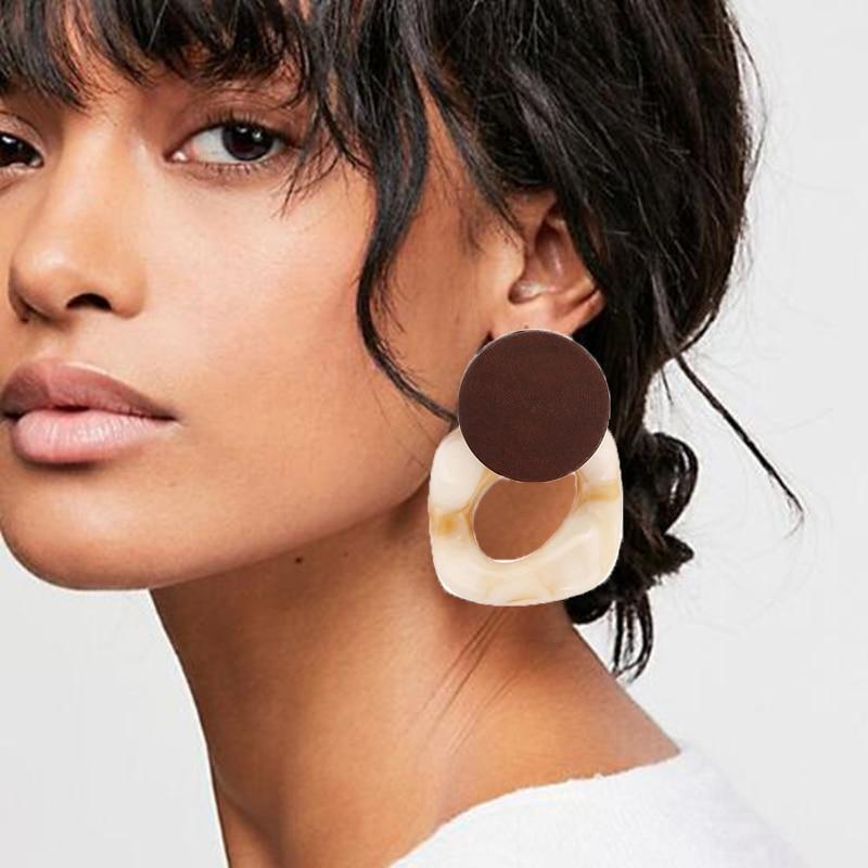 Fashion Big Resin Drop Earrings For Women 2020 New Acetic Acid Large Korea Square Acrylic Earrings Trendy Wood Geometric Jewelry
