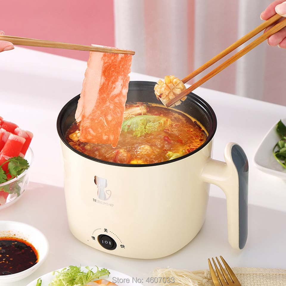 220V Multifunctional Electric Cooker Heating Pan Electric Cooking Pot Machine Hotpot Noodles Rice Eggs Soup Double Steamer