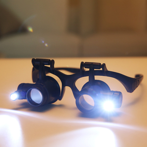 Image 3 - 2.5X 4X 6X 8X 10X 15X 20X 25X Multi Power Double LED Lights Magnifier Eye Glasses Watch Repair Loupe Jeweler Magnifying Glass