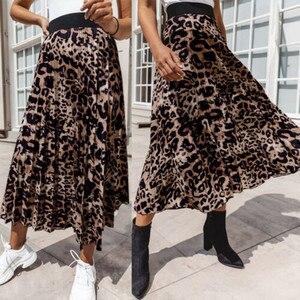 Women Leopard Print Pleated Long Skirt Women Elastic High Waist Side Pockets Skirts Summer 2020 Elegant Gothic Bottom Юбка