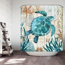 Sea Turtle Ocean Scenery Shower Curtain Bathroom Fabric Bath Curtain Non Slip Toilet Polyester Bathroom Shower Mat natural sea rocks scenery print waterproof shower curtain
