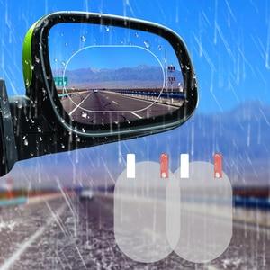 Image 1 - 2 sztuk naklejka na samochodowe lusterko wsteczne przezroczysta folia Anti Dazzle lusterko samochodowe folia ochronna wodoodporna przeciwdeszczowa Anti Fog naklejki samochodowe dla wszystkich samochodów