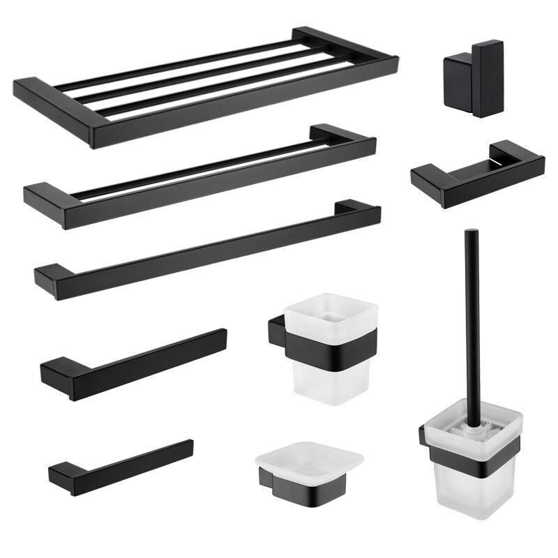 Bathroom Hardware Set Black Robe Hook Towel Rail Bar Rack Shelf Tissue Paper Soap Holder Toothbrush Holder Bathroom Accessories