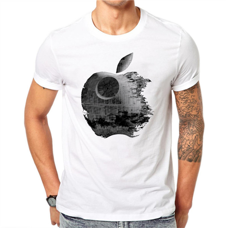 Summer Men T Shirts Fashion Weathering Apple Design Man'short Sleeve Tops Tees Clothes White Clothing