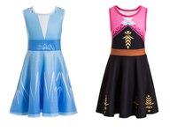Festa princesa elsa traje para meninas neve rainha cosplay festa elsa anna 2 novo traje para meninas elsa ii anna 2 vestidos