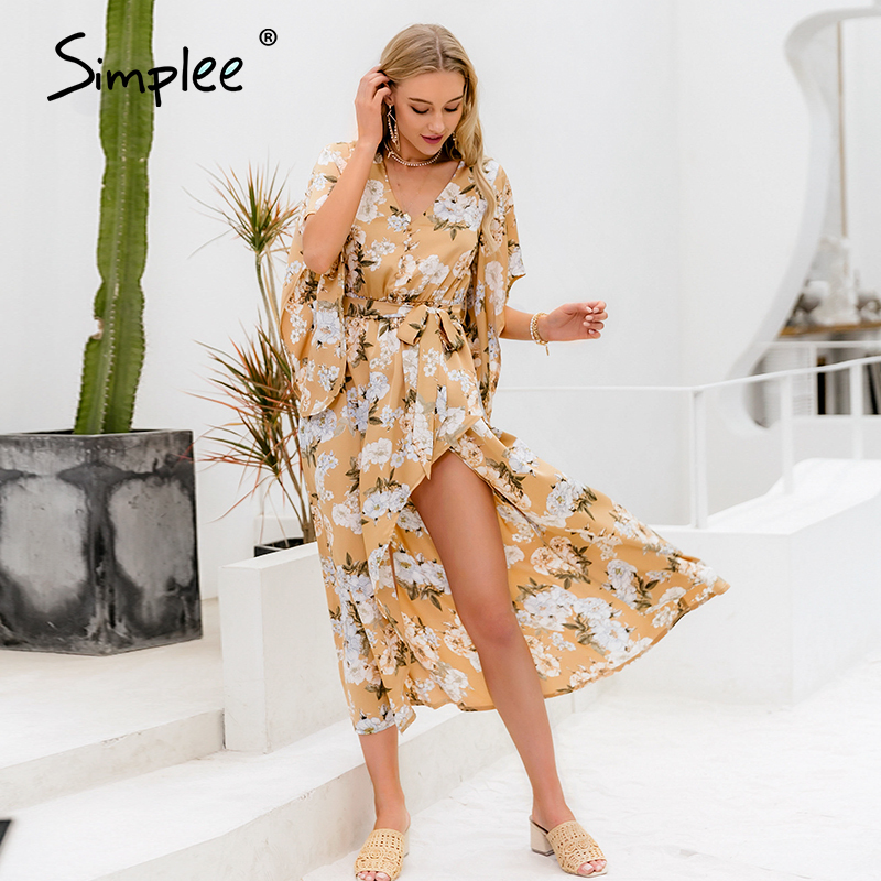 Simplee Ruffle Sleeve Floral Print Women Dress V Neck Sash Belt Female Beach Dress Spring Summer Split High Waist Ladies Dresses