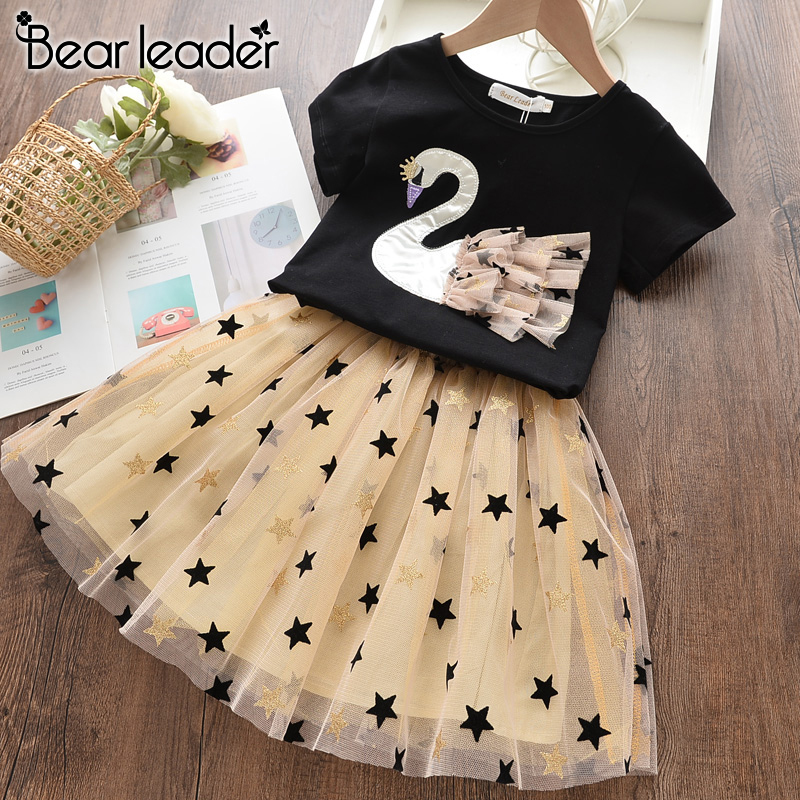 Bear Leader 2020 New Summer Kids Girls Clothes Set Fruit Parrten Short T-shirt +Bow Ball Gown Dress 2pcs Clothing Sets 3-7Y