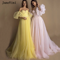JaneVini Charming A Line Long Prom Dresses with Puffy Sleeves Strapless Beaded 2020 Dot Tulle Backless Princess Prom Party Gowns