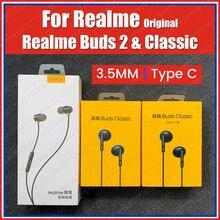 RMA155/2001 oryginalny Realme pąki 2 pąki klasyczne typu C słuchawki 3.5mm zestaw słuchawkowy Realme 7 Pro X50m X7 Pro X3 X2 Pro XT 6S 6i C3
