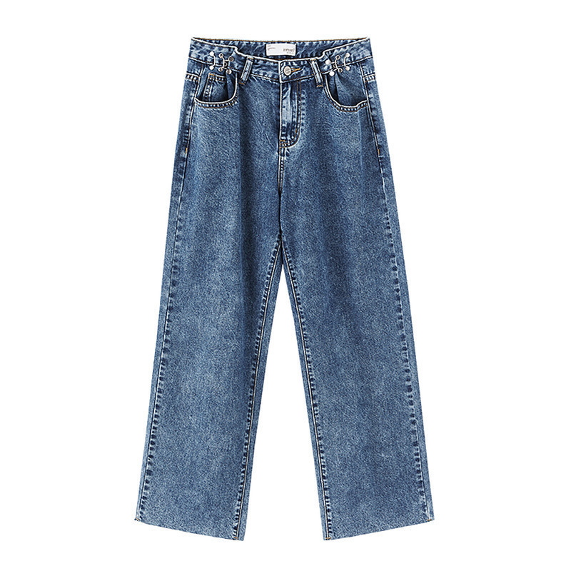 INMAN 2020 Spring New Arrival Retro Metal Decoration Loose Straight Style Washed Technic Women Fitting Lady Jeans