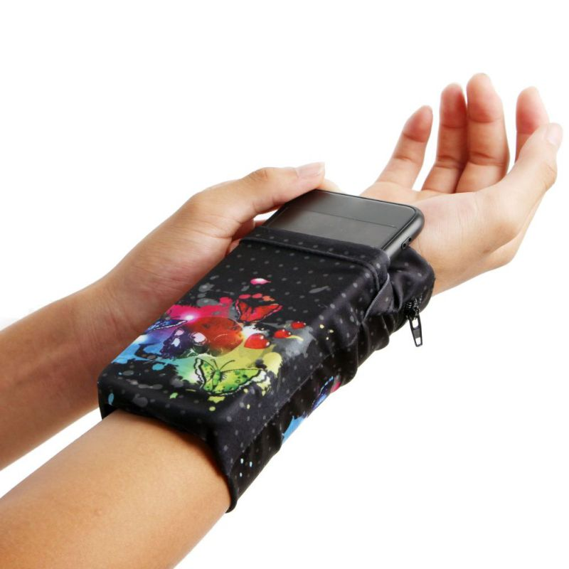 Running Arm Bag Elastic Folding Sweatband Wristband Wrist Armband Phone Pouch Holder Sports Bags  For Cycling