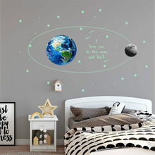3D A Set of Glowing Earth Moon Wall Stickers Luminous Star Bedroom Glow In The Dark Stars Removable Living Room No