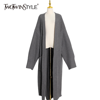 TWOTWINSTYLE Loose Knitting Cardigans For Women V Neck Long Sleeve Side Split Solid Casual Sweater Female Fashion New Clothing 2019 new spring v neck short sleeve print yellow pink chiffon dots loose big size xl long maxi split dress women fashion tide