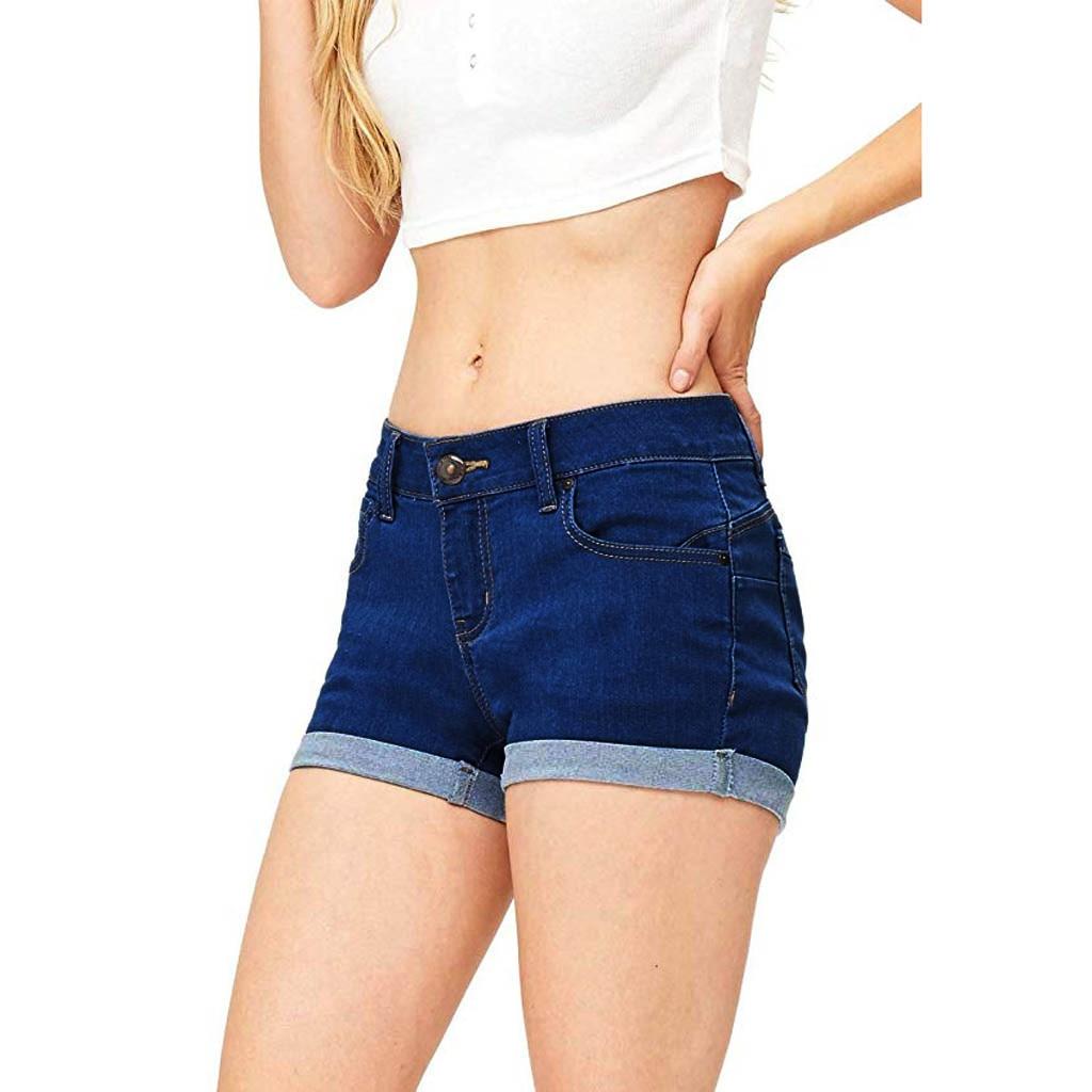 Jeans Woman Shorts Summer Low Waist Solid Button Pocket Zipper Fashion Casual Mini Denim Pants Jeans Mujer Cintura Baja OY41*