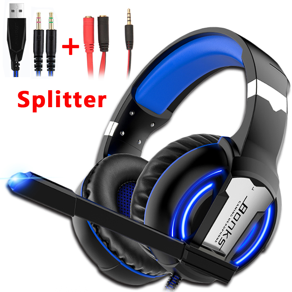 <font><b>Gaming</b></font> Headset PS4 Headphones Game <font><b>Earphones</b></font> Wired Bass Stereo Casque <font><b>with</b></font> <font><b>Microphone</b></font> For PS4 New Xbox One Laptop Tablet Gamer image