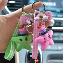 Creative Cute Soft Rubber Rainbow Starfish Car Keychain Pendant Lovers Bag Golden Key Ring Ornament Gift Pink Green Yellow Doll(China)