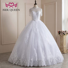 High Stand Collar Heavy Beading Ball gown Wedding Dress 2021 New Arrival Pure White Color American Fashion Bride Dress WX0227