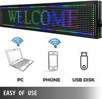 Comprar https://ae01.alicdn.com/kf/Hf9777666485a4b81a00f4f3b095f518bF/LED WiFi USB RGB 7Color Sign 40 x 8 con alta resolución P10 y nueva tecnología.jpg