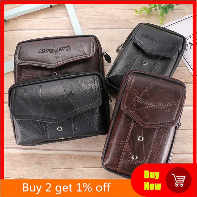 Vintage Leather Waist Bag Belt Loop Holster Carry Phone Pouch Wallet Case