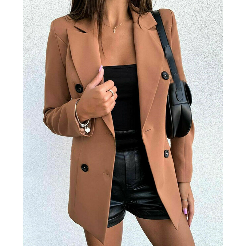 2020 Women Red Black Camel Double Breasted Blazer Suit Autumn Long Sleeve Turn Down Collar Button OL Blazer Business Work Coats