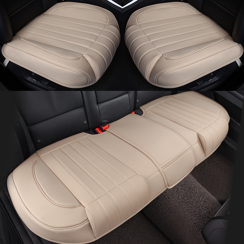 Black Red Car Seat Cover Breathable PU Leather Mat for Rear Back Seat Cushion x1