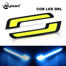 NLpearl 1 Pair 12V COB DRL LED Daytime Running Light for Car Offroad SUV Auto LED External Driving Fog Lamp Car Light Assembly free shipping 1 1 replacement fog lamp led daytime running light car led daytime running driving light fog fit for hyundai ix35
