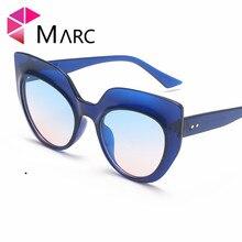 MARC Oversized Cat Eye Flat Top Sunglasses Women 2019 Brand Design Gradient Lens Sun Glasses Retro Vintage Shades Lady