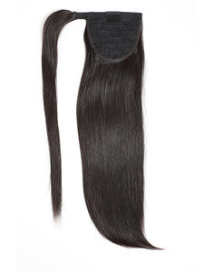 Hairpiece Ponytail Human-Hair Extensionsstraight Around Long Peruvian Clip-In for Women