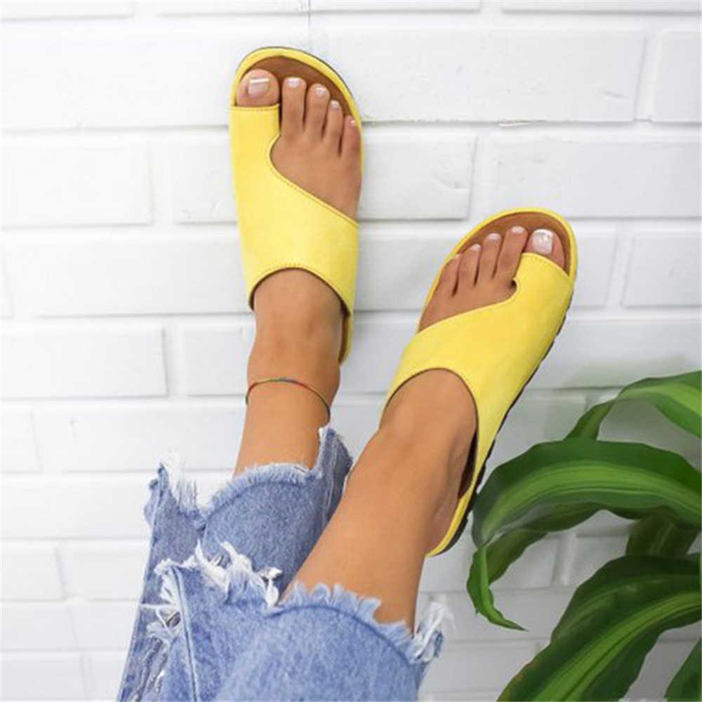 SHUJIN kadın terlik düz taban rahat yumuşak büyük ayak ayak sandalet kadın ayakkabı rahat platformu ortopedik Bunion düzeltici