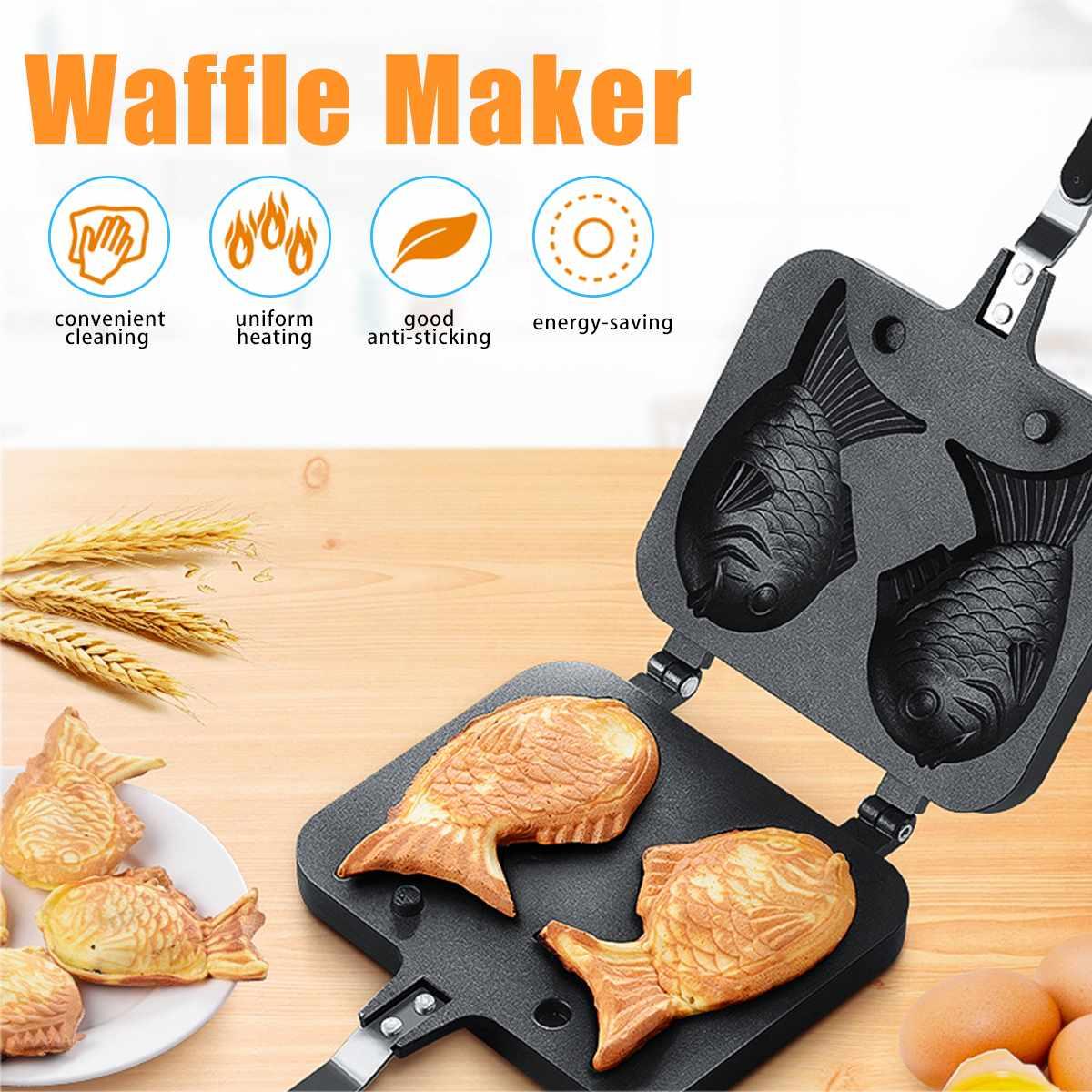 Taiyaki Japanese Fish-Shaped Bakeware Waffle Pan Maker 2 Cast Home Cake Tools Kids's Love Breakfast Family Kitchen BBQ Tool