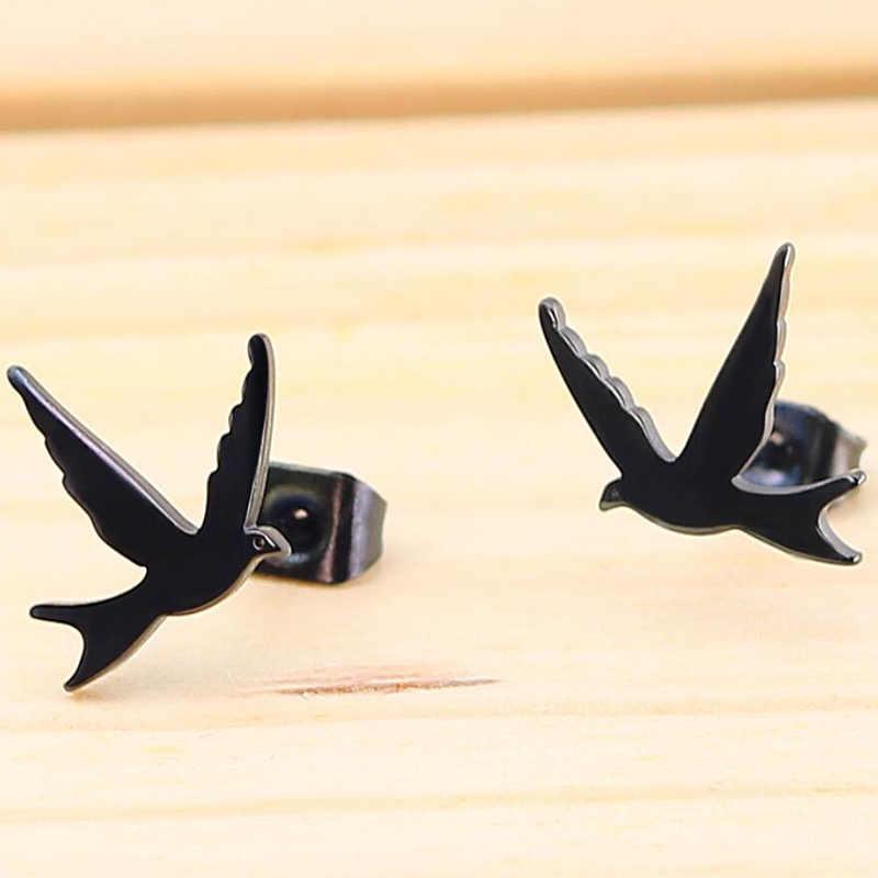 Yiusater lindos pendientes de pájaro pendientes de acero inoxidable de Color negro pendientes de Animal dulce para mujeres Fiesta de la paz regalo fino Bijoux