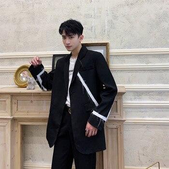 Men Stripe Spliced Single Button Casual Blazer Jacket Male Vintage Fashion Streetwear Hip Hop Loose Suit Coat Outerwear