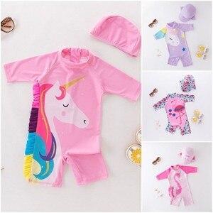 Baby Girl Swimwear Unicorn Surf Suit Swimsuit Bathing Suit 9M-6Y Pink 3D Frill Mane Flamingo Octopus Swimwear Kids UV Protection(China)