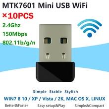 [10 Uds] Mini 7601 WiFi Dongle MTK7601 chip 150Mbps IEEE 802.11b/g/n estándar USB2.0 interfaz adaptador WiFi USB inalámbrico