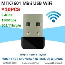 [10 pces] mini 7601 wifi dongle mtk7601 chip 150mbps ieee 802.11b/g/n padrão usb2.0 interface sem fio usb adaptador wi fi