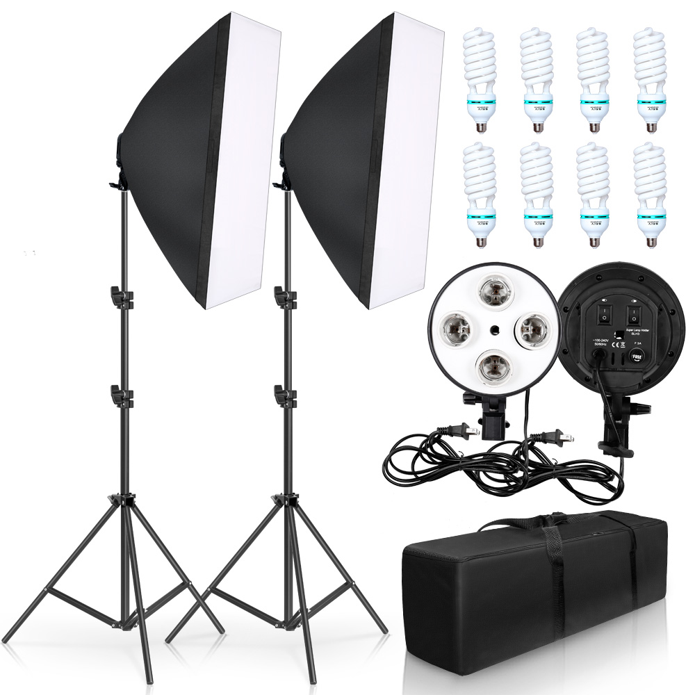Professional Photography 50x70CM Four Lamp Softbox Kit With 8pcs Bulb Soft Box Accessories Tripod Stand For Photo Studio Video