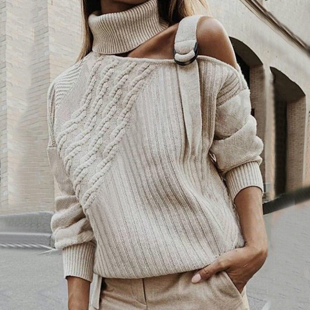 Женский леопардовый лоскутный свитер сексуальный леопардовый вязаный пуловер открытыми плечами пряжкой, осенне-зимний джемпер длинным ру...