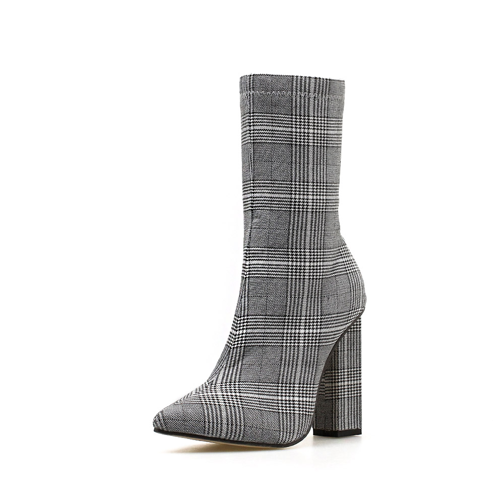 Купить с кэшбэком NIUFUNI Stripes Sexy Slim Ankle Boots For Women Shoes Pointed Toe High Heels Botas Mujer Femme Zipper Chelsea Boots Size 35-42