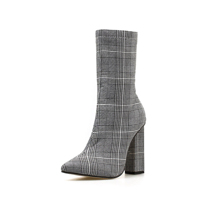 NIUFUNI Stripes Sexy Slim Ankle Boots For Women Shoes Pointed Toe High Heels Botas Mujer Femme Zipper Chelsea Boots Size 35-42 6