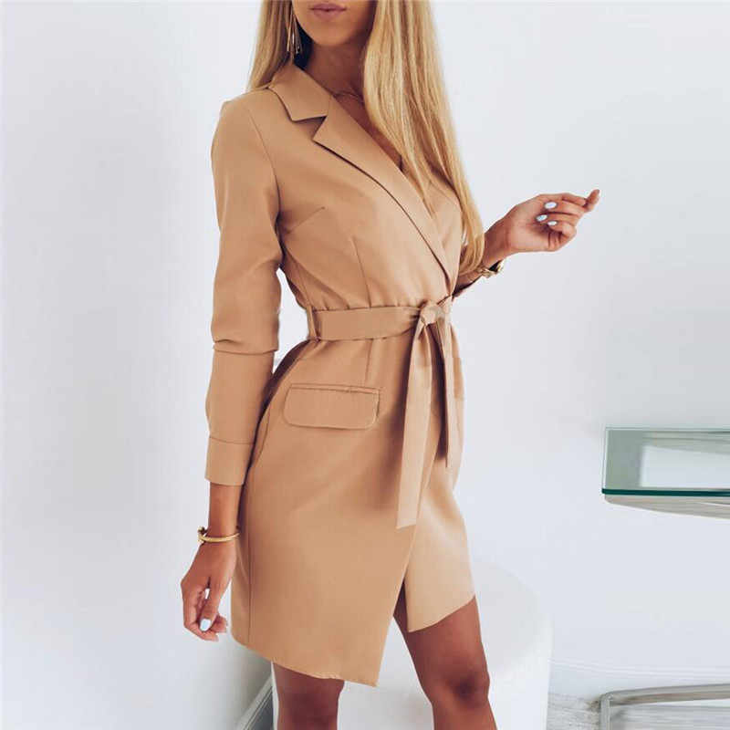 Elegant Autumn Women OL Suit jacket Lace Up Long Office Blazer Dress Deep Turn-down Col Dress long sleeves A-Line Woman Suit N26
