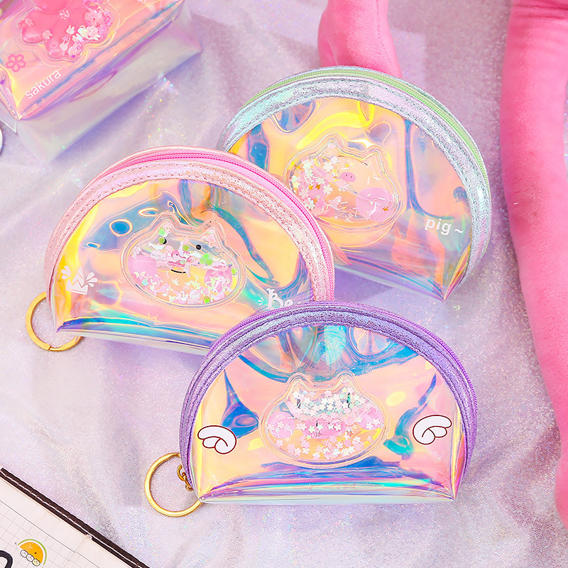Hot Selling GIRL'S Heart Oil Into Quicksand Purse Laser Colorful Zip Coin Purse Storgage Bag Transparent Wallet