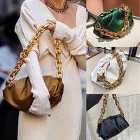 Top Quality Thick Golden Chains Clouds Bag\Bandbag Women Genuine Leather Dumpling Clutch Bag 2020 Fashion Female Shoulder Bag