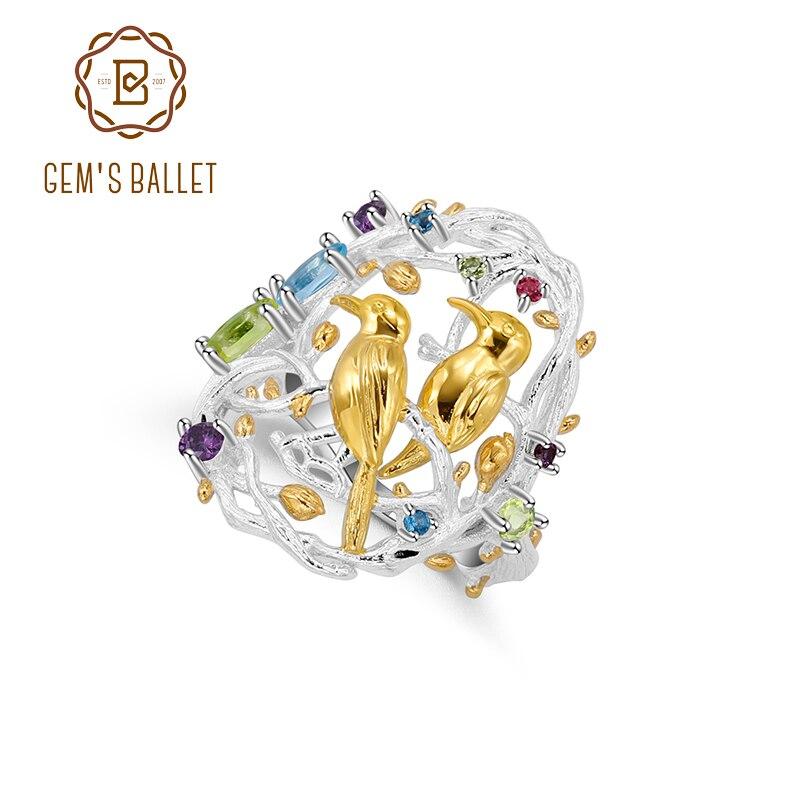 GEM'S BALLET 925 Sterling Silver Handmade Busy Garnet Natural Multicolor Gemstones Women's Statement Cocktail Ring